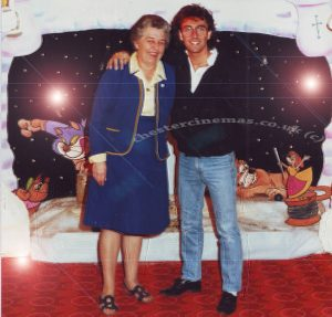 JOYCE HODGKINSON with Terry Underhill at the opening of Santa Claus the Movie grotto